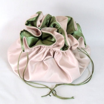 Dollar Dance Bag, Satin Bridal  Reticule,  Champagne and Sage Green,   No Pockets, Super Sized