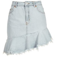 MOTO Asymmetric Hem Denim Skirt - Denim - Clothing