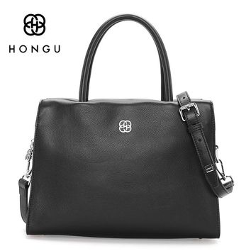 HONGU Genuine Cow Leather Litchi pattern Women's Shoulder Crossbody Bags Europe women leather handbags Tote bolsa Female Handbag