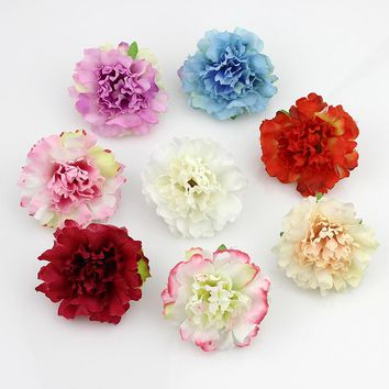 50pcs/lot Approx 5cm Artificial carnation Flower Head Handmade Home Decoration DIY Event Party Supplies Wreaths