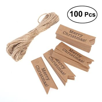100pcs Paper Tags Craft Tags Merry Christmas Hang Labels Bookmark Tags