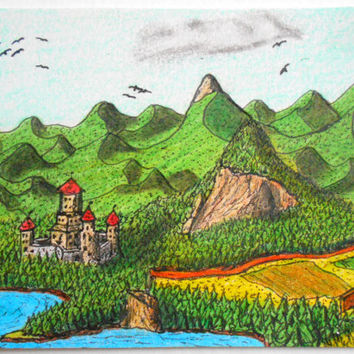 Aceo art card original, original fantasy aceo drawink , ink and pencil artwork landscape drawing 'Balkatraz Castle'
