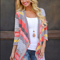 Stripe Sleeve Asymmetrical Cardigan