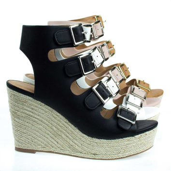 Hamza Black By City Classified, Gladiator Sandal On Espadrille Platform Wedge Sandal,  Open Toe Shoe