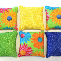 Bean Bags Daisies with Blue, Lime Green, & Yellow Floral (set of 6) - US Shipping Included