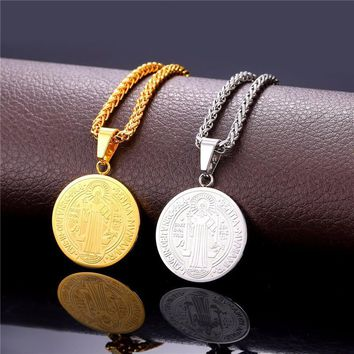 HCXX Vintage Saint Benedict Medal Pendant Stainless Steel Gold 22'' Chain