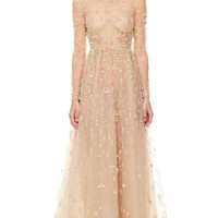 Praline Multi Tulle Illusione Gown by Valentino for Preorder on Moda Operandi