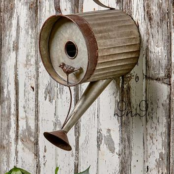 Birdhouse Rustic Watering Can Metal Weathered Look Primitive Country Yard Decor