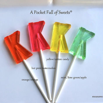 12 Letter K Lollipop Birthday Party Favors Barley Sugar Hard Candy Lollipop Suckers Personalized Initial K
