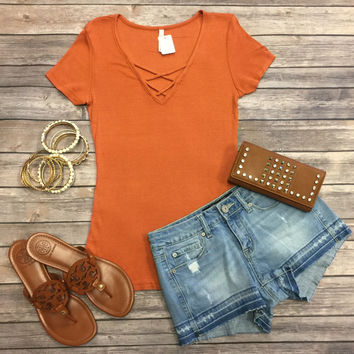 Ribbed Criss Cross Top: Spice