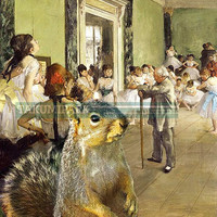 The Ballet Class, Edgar Degas Squirrel Photo Bomb, Pop Art, Modern Art, Animal Wall Art, Kawaii Art, Photo Print, Home Decor, Squirrel Art
