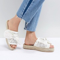 River Island Laser Cut Bow Espadrille Sandals at asos.com