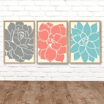 Gray Coral Aqua Wall Art, Succulent Artwork, Flower Wall Art CANVAS or Prints, Gray Coral Aqua Bedroom Decor, Succulent Flower Art Set of 3