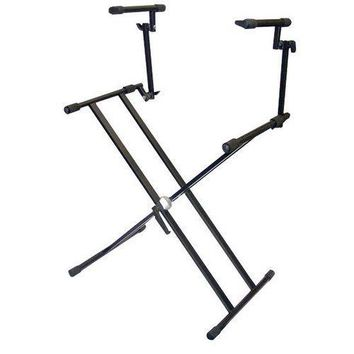 Digital Electronic Keyboard Piano DJ Table Stand Mount Holder, Two Tier Design, Height Adjustable