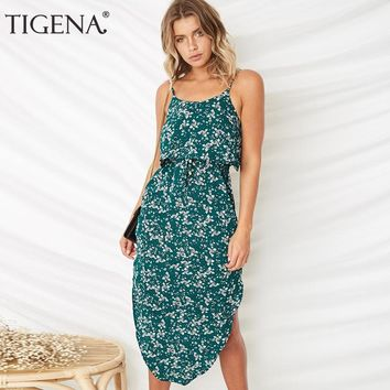 TIGENA Sexy Strap Women Summer Dress and Sundress 2018 Floral Polka Dot Long Dress Women Bohemian Boho Beach Dress Robe Femme