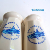 Vintage USS Yorktown CV-10 Souvenir Salt and Pepper Shakers