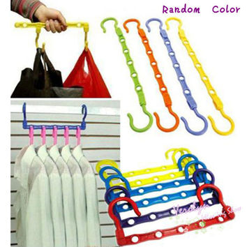 4 Pcs Magic Hangers Hook Closet Space Clothes Organize Organizer Saver Storage
