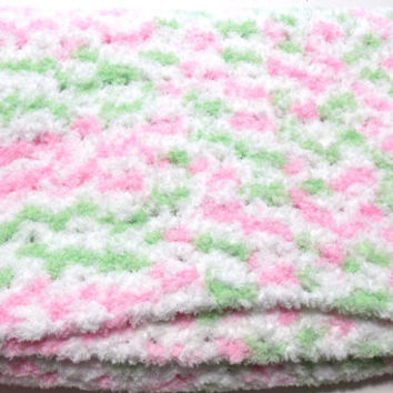 Crochet Baby Blanket, Photo Prop, Pink and Green, Little Girl, Crib Sized, Soft Afghan, Handmade Crochet Afghan
