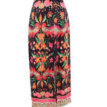 70s Baroque Floral Print Maxi Skirt