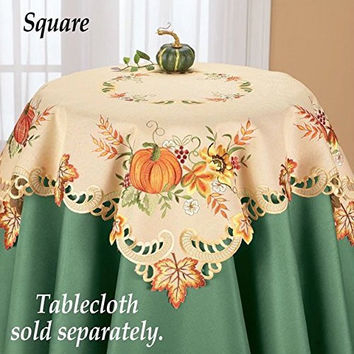 Fall Orange Pumpkin Embroidered Table Square