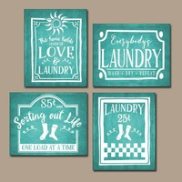LAUNDRY Wall Art, Laundry Room Decor, Laundry Room Sign, CANVAS or Print, Farmhouse Laundry, Laundry RULES, Laundry Quote, Set of 4 Pictures
