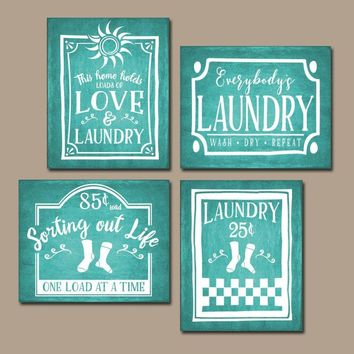 LAUNDRY Wall Art, Laundry Room Decor, Laundry Room Sign, CANVAS or Print Farmhouse Laundry, Laundry RULES, Laundry Quote, Set of 4 Pictures