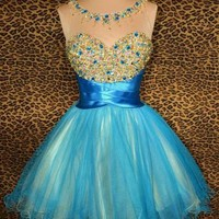 BLUE PROM SHORT COCKTAIL PARTY EVENING MINI HOMECOMING BALL GOWN DRESS M 8