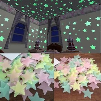 100pcs 3D Stars Glow In The Dark Wall Stickers Luminous Fluorescent Constilation Home Decor