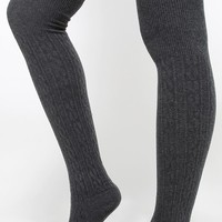 Cable Knit Thigh High Socks | MakeMeChic.com