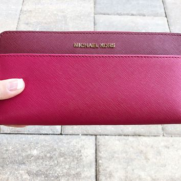 Michael Kors Money Pieces Pocket Zip Around Continental Leather Wallet Pink Red