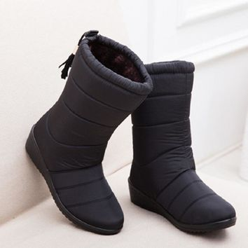 Fashion Women Boots Female Tassel Winter Ankle Boots Shoes Down Wedges Snow Boots Ladies Shoes Woman Warm Botas Mujer