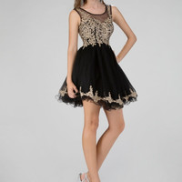 G1334 In Stock Black 2XL  High Neck Jewel Embroidered Cocktail Homecoming Dress
