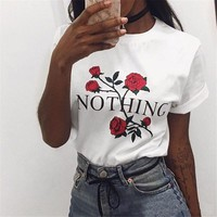 Rose Print T-Shirt with Lettering