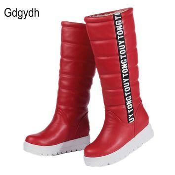 Gdgydh Winter Women Shoes Knee high Boots Female Elevator Flat Thermal Velvet Snow Boo