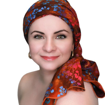 Forest Floral Turban, Head Wrap, Alopecia Scarf, Chemo Hat, Hat & Scarf Set