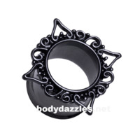 Pair of Black Medieval Filigree Double Flared Ear Gauge Tunnel Plug