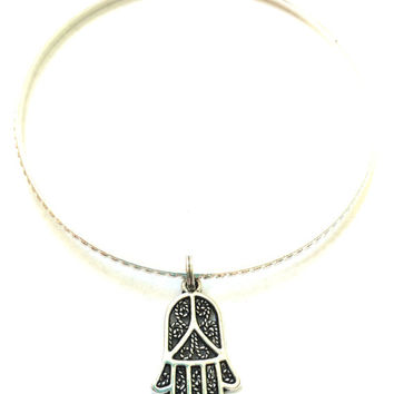 Hamsa Hand Charm Bracelet - Alex and Ani Inspired - Silver Jewelry - Stacking Bangles