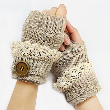Lace Knit Fingerless Glove, Boho laced knit glove mittens, knitted fingerless gloves, mittens, button gloves