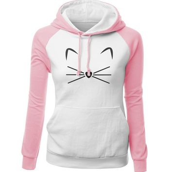 Cat Kitty Ears Nose Hair Mustache Two Color Tone Women Hoodie Sweater
