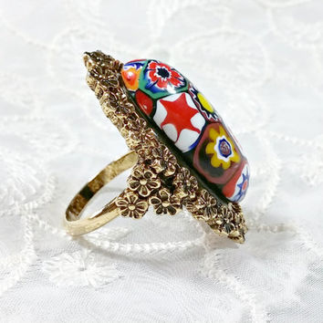 Vintage Millefiori Glass Ring Antiqued Gold Metal Adjustable Oversized Outstanding Colorful Oval Dome Shaped Multi-Colored Large Cabachon