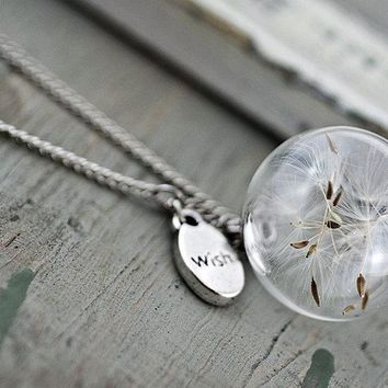 PURE & SIMPLE necklace with Real Dandelion Seeds in glass orb and wish charm