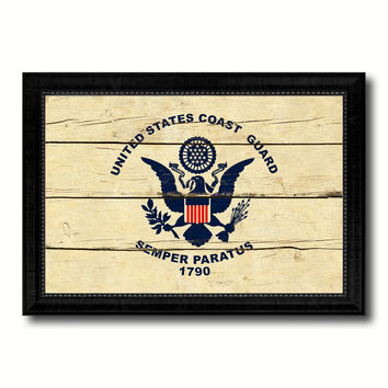 US Coast Guard Military Flag Vintage Canvas Print with Black Picture Frame Home Decor Wall Art Decoration Gift Ideas