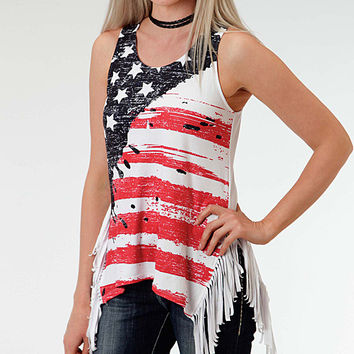 Women Fashion Sleeveless T-shirt American Flag Printed Camisole Tank Tops