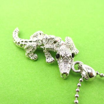 Rhinestone Crocodile Shaped Alligator Pendant Necklace in Silver | DOTOLY