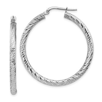 14k White Gold 30 mm Diamond-cut Round Hoop Earrings