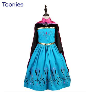 Girls Princess Dresses Halloween Cosplay Baby Girl Dress Child's Vestidos 2017 Cute Party Costumes for Children Dress+Cloak 2Pcs