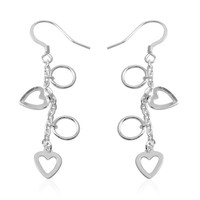 Heart Sterling Silver Dangle Earrings