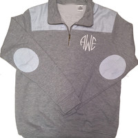 Monogrammed Seersucker Quarter Zip Pullover - Grey and Light Blue