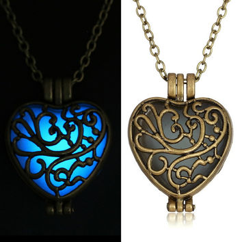 Antique  Pendant Necklaces Glow In The Dark suspension Locket copper Hollow Glowing Stone necklace Heart Statement Choker Women
