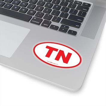 Tennessee TN Euro Oval Sticker RED